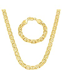 9mm Gold Plated Mariner Link Chain & Bracelet Set + Microfiber Jewelry Polishing Cloth