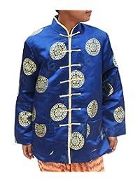 全时髦厚中国真丝男士中国普通正式面料纽扣夹克衫