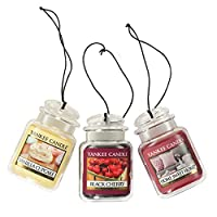Yankee Candle 汽车罐终极悬挂空气清新剂 3 件装(香草纸杯蛋糕、黑樱桃和家庭甜蜜之家)