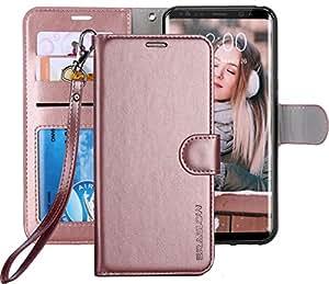 Galaxy S8 手机壳,ERAGLOW 奢华 PU 皮革钱包翻盖保护套带卡槽和支架,适用于三星 Galaxy S8EG-W42-RD 玫瑰金