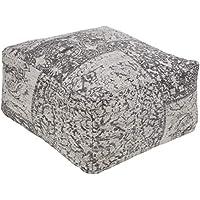 Artistic Weavers Marceline Pouf, 45.72 x 45.72 x 40.64 厘米, 灰色/黑色