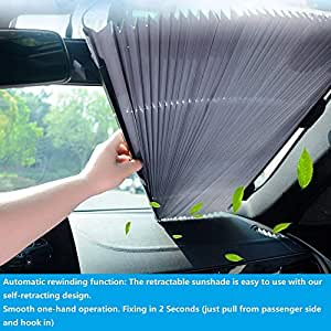 ECFAC 汽车挡风玻璃遮阳罩,可伸缩遮阳罩,易于安装和使用,通用汽车遮阳罩让您的爱车保持凉爽 25.6 inch 银色 EC-W65