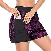 Cucuchy 女式跑步瑜伽短裤双层运动健身裤带口袋