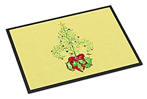 """Caroline's Treasures Christmas Tree Fleur De Lis Indoor or Outdoor Mat, 18"""" x 27"""", Multicolor"""