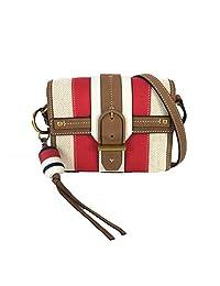 Tory Burch 海上条纹斜挎包,自然色/新象牙色/红色