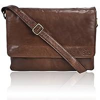 男式皮革笔记本电脑斜挎包 - 高级办公室公文包 14 英寸 MacBook 专业大学男款女式侧袋