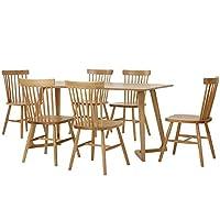 百伽 现代简约全实木餐桌椅组合进口白橡木餐厅家用一桌六椅 1.6米M型腿餐桌+6把温莎椅(配送上门/安装咨询电话:400-00-17901,QQ:947880481)