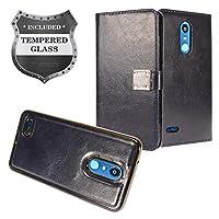 LG K30 LM-X410,Xpression Plus,Phoenix Plus X410AS,Harmony 2,CV3 Prime,Premier Pro LTE L413DL - 可拆卸磁性翻盖钱包手机壳 + 钢化玻璃屏幕保护膜 MW2 Navy Blue