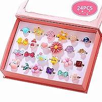 PinkSheep 小女孩宝石戒指(包装盒内),可调节,无重复,女孩假装游戏和装扮戒指 24 个可爱的戒指 多彩