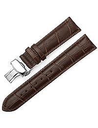 istrap 牛皮表带 真皮表带 男女通用手表带 蝴蝶扣银色 棕色棕线24mm