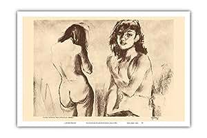 "Nude Studies for Etchings - 来自夏威夷的蚀刻和绘图 - John Melville Kelly 创作的 1940s 复古 Drypoint 蚀刻 - 艺术大师印刷 12"" x 18"" PRTB1151"