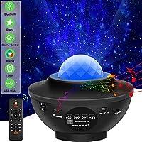 激光星投影机灯 LED 夜灯投影仪 3 合 1 天空暮光星海波投影蓝牙音箱语音控制圣诞投影机灯适用于婴儿儿童卧室派对家居假日