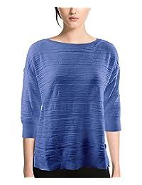 Calvin Klein 女式七分袖圆领纹理毛衣
