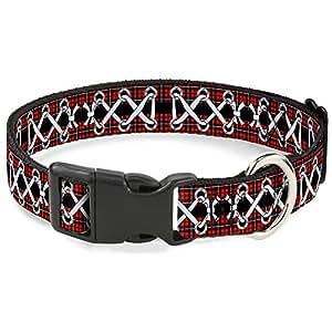 "带扣塑料扣扣项圈 - 紧身胸衣系带 黑色/紫红色 - 1.27 cm 宽 - 适合 22.86cm 颈部 - L 码 Corset Lace Up Red Plaid/Black 1/2"" Wide - Fits 6-9"" Neck - Small"