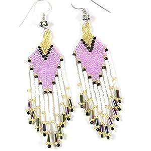 Viva 紫色白色金种子串珠耳环 E-15-SB-26