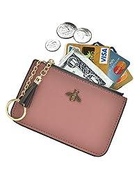 AnnabelZ 女士零钱包钱包式钱包皮革卡包带钥匙链流苏拉链