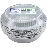 Nicole Home Collection 10 只装铝制圆形平底锅,塑料圆顶盖,17.78cm,银色