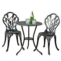 百伽 美亚同款户外家具阳台室外铸铝铁桌椅三件套24360 古铜色【亚马逊自营,供应商配送】