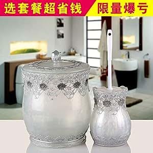 欧宴智能感应垃圾桶自动时尚客厅卧室家用收纳桶创意树脂垃圾筒蕾丝珍白垃圾桶+马桶刷
