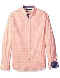 Nautica 男士经典修身弹力格子长袖系扣衬衫