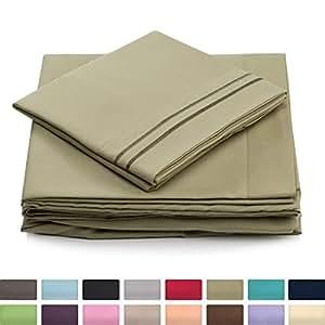 Cosy House 系列床单 - 1500 系列 - 超柔软奢华*店床单套装 - 超柔软*店床上用品 - 炫酷无皱 淡绿色(Sage Green) 两个 XL