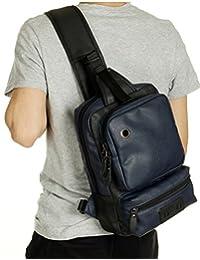 EVERDOSS PU皮男士运动胸包 休闲户外斜挎包 韩版潮流单肩背包