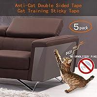 Binary Barn 猫防刮防水胶带,猫咪家具保护膜,透明双面训练胶带,粘爪子防止宠物刮伤沙发和门(无痕)(5 件)