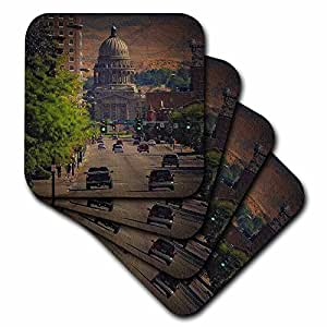 3dRose cst_26360_3 State Capital in Boise-Ceramic Tile Coasters, Set of 4