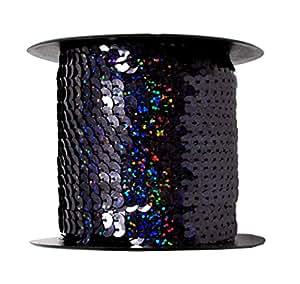 Mandala Crafts 6 毫米扁平金色银色黑色红色蓝色装饰钉珠珠串带卷,100 码 黑色 One Holographic Roll 100 Yards Sequins