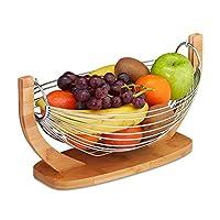 Relaxdays 水果吊床,竹制和不锈钢,网格设计,装饰水果盘,高 x 宽 x 深:18.5 x 38 x 23 厘米,自然/银色
