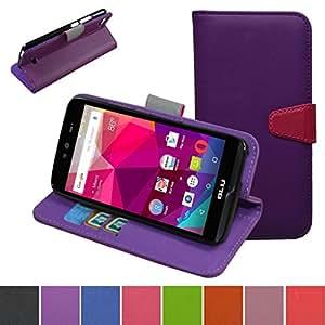 MAMA Mouth [ 支架 View ] 翻盖保护壳 [ 钱包式保护套 ] 带卡槽 / 现金插槽和口袋套适用于 BLU dash X d010u 紫色