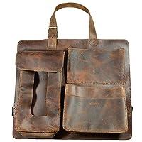 Hide & Drink,皮革后座汽车收纳袋,纸巾盒,手机支架,手工制作包括 101 年质保:波旁棕色