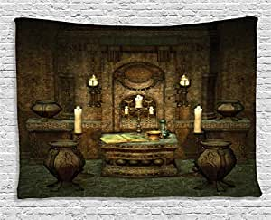 Gothic House Decor Tapestry by Ambesonne, A Room with Altar in Fantasy Style Spells Spirituality Pentagram Symbols and Candles, Wall Hanging for Bedroom Living Room Dorm, 80 W X 60 L, Forest Green
