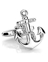 Chryssa Youree 男式复古锚装饰婚礼礼物商务衬衫袖扣 1 对银色(XK-020) 银色
