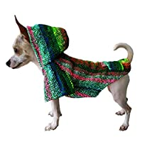 Yani's Gifts 巴哈斗篷狗狗衣服,温暖的狗狗Serape,舒适正品巴哈连帽衫,狗狗的舒适 Jerga 斗篷,*多色*地毯连帽衫 Green, Multi-color 小号