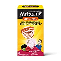 Airborne  维生素C 1000毫克-莓果咀嚼片,无麸质,富含抗氧化剂,包装可能有所不同,(一盒96粒)