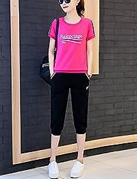 DVG 运动套装女夏装休闲两件套夏季新款女装时尚短袖休闲卫衣套装女运动服 DW8446