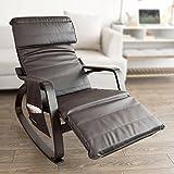 Haotian 舒适休闲摇椅,休闲椅,棉布靠垫 棕色