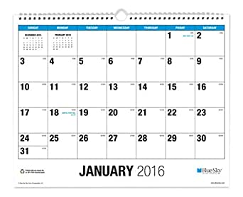 "Blue Sky 2016 Wall Calendar, Wire-O Binding, 15"" x 12"", The Big Picture (17652-W)"