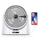 Elechomes USB 桌扇小型个人空气循环器风扇便携式电动桌扇可充电旅行风扇 适用于露营办公室室室外,配有移动电源功能和 LED 灯,10 英寸白色