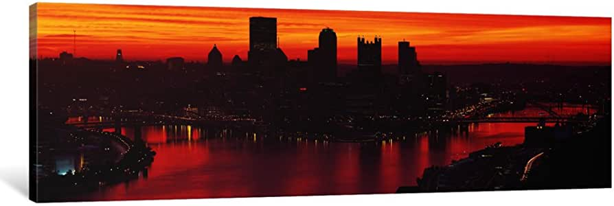 """iCanvasART 1 Piece Silhouette of buildings at dawn, Three Rivers Stadium, Pittsburgh, Allegheny County, Pennsylvania, USA Canvas Print by Panoramic Images, 36 x 12""""/0.75"""" Deep"""