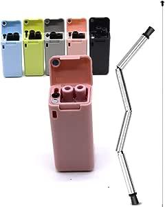 ZEN 高级 l 可折叠吸管 - 不含 BPA 可折叠可重复使用不锈钢饮用吸管,带 ABS 表壳,易于清洁工具,可重复使用和环保 粉红色
