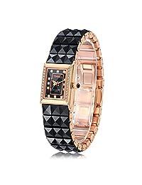 Time100 时光一百 时尚方形 石英女士手表 时尚闪钻陶瓷粒 W505PTAI25L.02A(亚马逊自营商品, 由供应商配送)