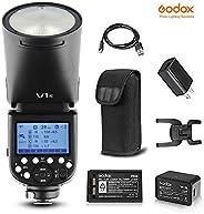 Godox V1-N 圆头闪光灯 兼容尼康相机 1/8000 HSS, 76Ws 2.4G TTL 车载闪光灯闪光灯 带 2600mAh 锂离子电池和充电器