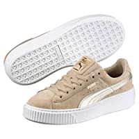 PUMA SE BASKET PLATFORM MET 女式 Metallic Safari 厚底板鞋 麂皮经典款