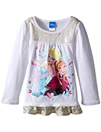 Disney Girls' Long Sleeve White Fashion Top