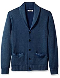 Goodthreads Men's Soft Cotton Shawl Cardigan Sweater, Washed Blue, Small