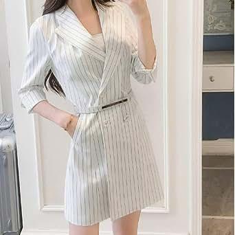 2019春季新款时尚气质OL条纹连衣裙修身显瘦小西装外套职业装潮女米白色 S