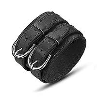 BISAER Adjustable Unisex Genuine Leather Wristband Cuff Bracelet 7.5-9.4 Inches Black Brown White  黑色