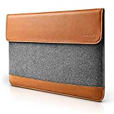 Tomtoc Ultra Slim 12 13 15 Inch MacBook Pro Retina Sleeve Tablet Case Cover [Felt & PU Leather] Protective Bag with Accessory Pocket - Classic 15英寸
